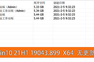 Win10 v21H1 19043.889 不忘初心精简版本